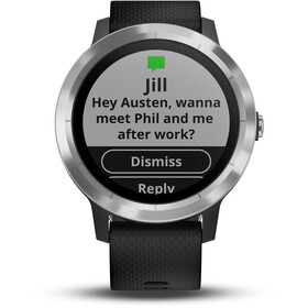 Garmin vívoactive 3 GPS Sportuhr mit schwarzem Silikonarmband edelstahl